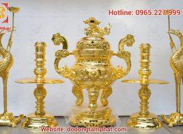 Bộ ngũ sự 60cm đúc tinh xảo mạ vàng 24K