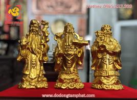 Bộ Tam đa Phúc Lộc Thọ bằng đồng thếp vàng đường nét sinh động