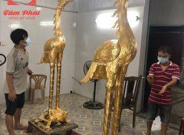Cặp hạc thờ bằng đồng dát vàng 9999 cao 2m2