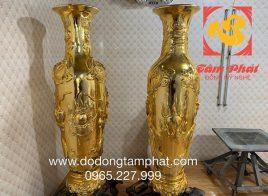 Cặp lộc bình bằng đồng mạ vàng cao 1m73 nặng 280kg