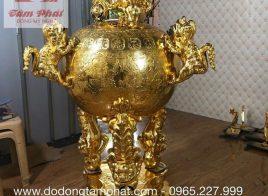 Đỉnh đồng thất lân mạ vàng chạm họa tiết tinh xảo