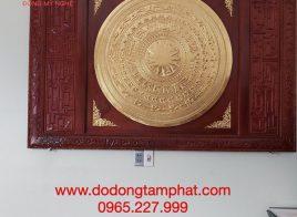 Mặt trống đồng Đông Sơn dát vàng 9999 khung gỗ