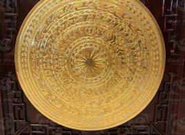 Mặt trống đồng đường kính 60cm đồng đỏ đúc thiếp vàng 9999