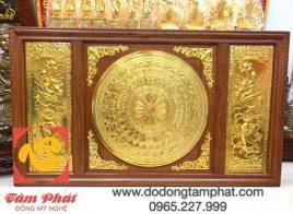 Tranh mặt trống Đông Sơn và hoa sen dát vàng 9999 khung gỗ 2m31 x 1m2