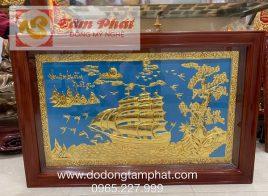 Tranh phong thủy Thuận Buồm Xuôi Gió bằng đồng thếp vàng