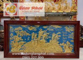 Tranh Thuận Buồm Xuôi Gió bằng đồng dát vàng 9999 tinh xảo