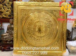 Tranh trống đồng Đông Sơn mạ vàng kích thước 1m55*1m55 cho khách Sơn La