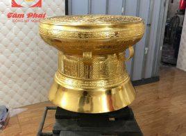 Trống đồng Đông Sơn đường kính 50cm thếp vàng 9999