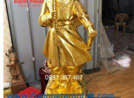 Tượng đồng Hưng Đạo Vương thếp vàng mẫu chuẩn cao 90cm tại xưởng
