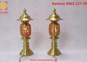 Đôi đèn thờ hình quả dứa màu vàng cao 55cm (1)