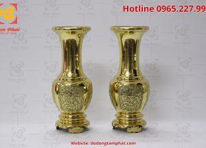 Đôi lọ hoa bằng đồng màu vàng cao 45 cm (5)