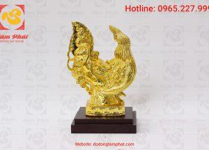 Đầu rồng thời Lý mạ vàng chiều cao 28 cm (4)