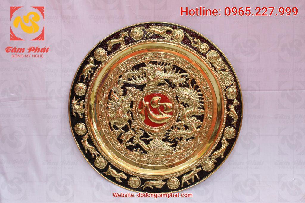 Tranh đồng mâm đồng chữ Tâm mạ vàng đường kính 50 cm