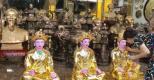 Bộ tượng Tam Tòa Thánh Mẫu mạ vàng 24K cao 90 cm hoan hỉ về đền Chầu Bà Long Biên