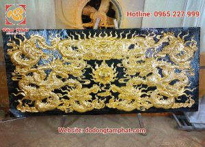 Tranh đồng cửu long mạ vàng 2m3 mang lại tài lộc, may mắn, thịnh vượng.