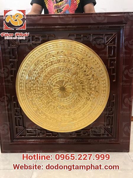 mặt trống đồng 60 cm thếp vàng 9999