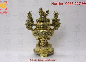 Đỉnh đồng tai rồng mạ vàng, cao 50cm đặt trên bàn thờ gia tiên