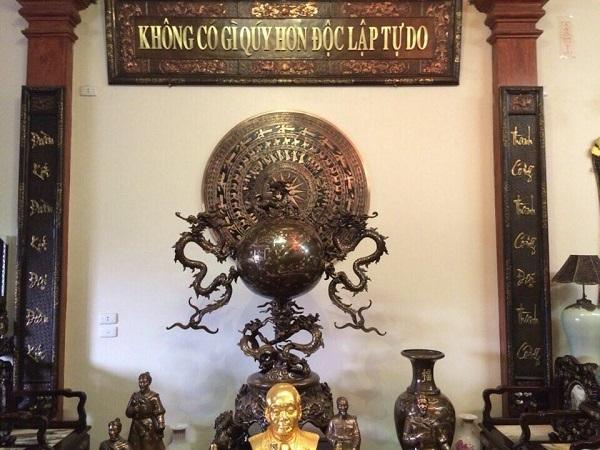 Mặt trống đồng đường kính 55cm - phù điêu trang trí phòng thờ Bác Hồ