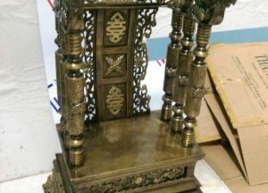 Ngai thờ hun xanh giả cổ, cao 68cm, gò thủ công