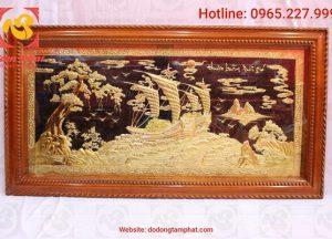 Tranh đồng Thuận Buồm Xuôi Gió mạ vàng 1m x 0.6m
