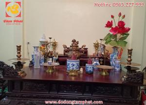 Bộ đồ thờ ngũ sự bằng đồng đỏ 5 chữ nổi Phúc Lộc Thọ Khang Ninh