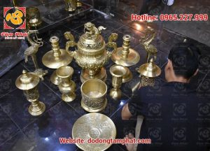 Bộ ngũ sự đồng vàng màu mộc, đỉnh Phúc Lộc Thọ cao 60cm