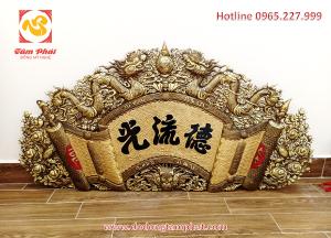 Cuốn thư câu đối Đức Lưu Quang chế tác từ đồng vàng nguyên tấm