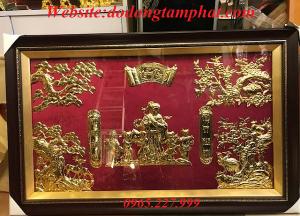 Tranh đồng mừng thọ cụ bà dát vàng 9999 tinh xảo, đặc sắc