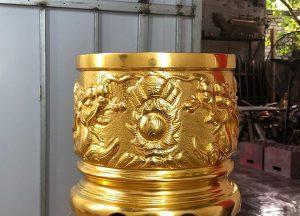 Bát hương thờ gia tiên bằng đồng mạ vàng 24k