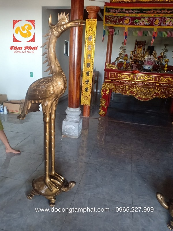 Đôi hạc thờ đồng đỏ 1m73 bàn giao cho khách Nghệ An