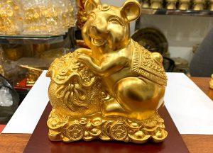 Tượng chuột phong thủy mạ vàng kiểu dáng tươi vui