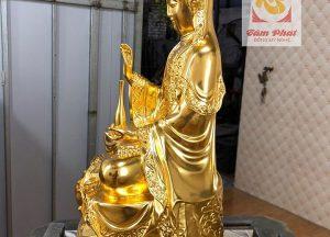Tôn tượng Phật Quan Âm bằng đồng thếp vàng