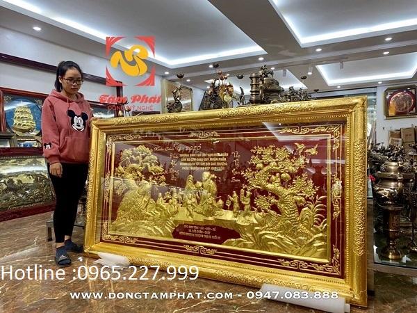 Tranh đồng chúc thọ cụ bà dát vàng 9999 sắc nét