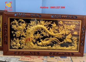 Tranh đồng Vinh Hoa Phú Quý mạ vàng 24k kích thước 2m3x1m2