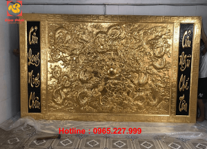 Tranh đồng Cửu Long Minh Châu mạ vàng 24k kích thước 3,5x3m
