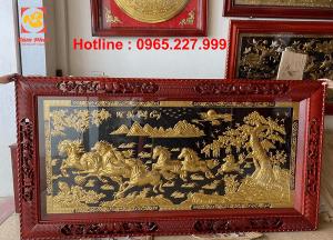 Tranh đồng Mã Đáo Thành Công thiếp vàng 9999 khung gỗ đục 2m3x1m2