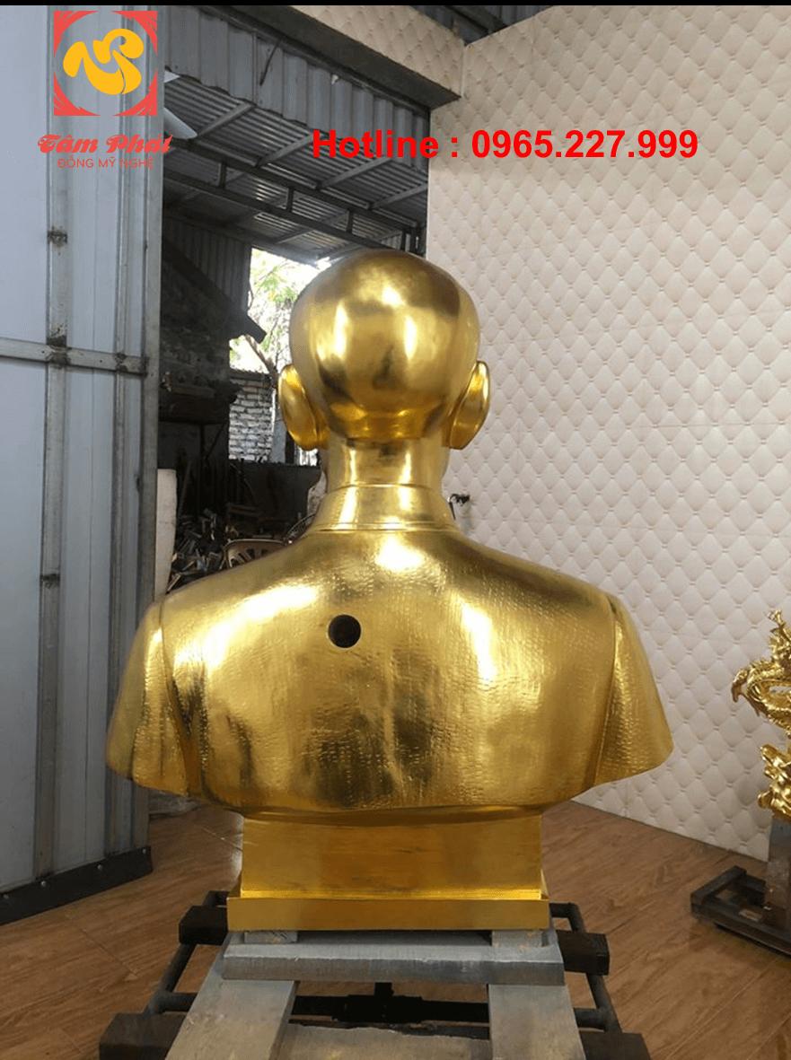 Tượng Bác Hồ bán thân bằng đồng cao 80cm dát vàng 9999