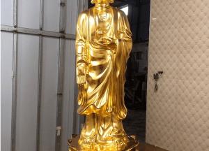 Bộ tượng Tây Phương Tam Thánh bằng đồng đỏ cao 90cm dát vàng 9999