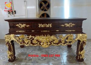 Dát vàng 9999 bàn thờ gỗ gụ kích thước 1m97x97cm