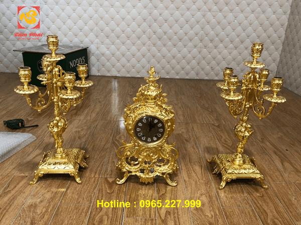 Nhận dát vàng - Thếp vàng đồ Cổ điển châu Âu - Đồng hồ và đôi chân đèn dát vàng 9999.!