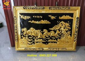 Tranh Mã Đáo Thành Công khung đồng mạ vàng 24k kích thước 1m2x1m7