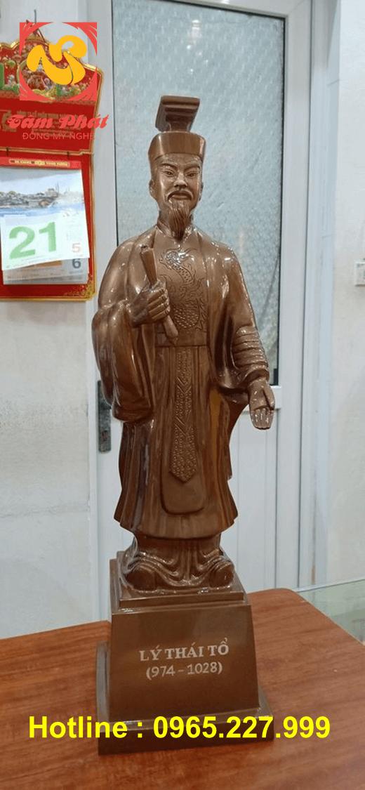 Tượng đồng Lý Thái Tổ cao 60cm màu sắc trầm mặc tinh xảo