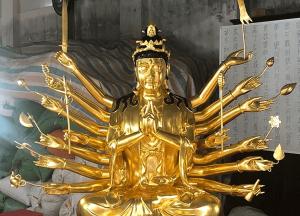 Tượng Phật Chuẩn Đề bằng đồng dát vàng 9999 cao 2m