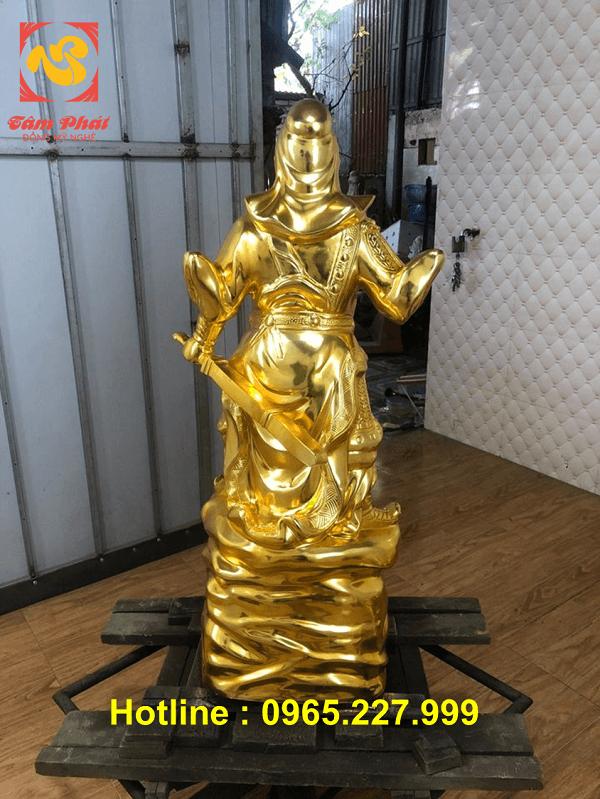 Tượng Quan Công cao 90cm bằng đồng đỏ mạ vàng 24k