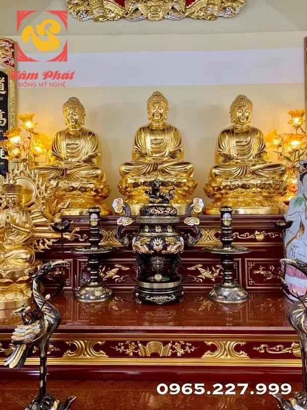 Tượng Tam Thế Phật cao 1m08 - đồng đỏ Dát vàng 9999