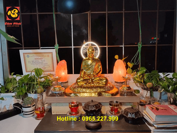Tượng Phật Thích Ca cao 60cm dát vàng 9999 đẹp tôn nghiêm
