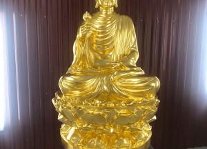 Đúc tượng Phật Thích Ca cao 1m2 bằng đồng đỏ dát vàng 9999 phù hợp mọi không gian chùa.!
