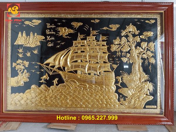 Tranh Thuận Buồm Xuôi Gió bằng đồng mạ vàng 24k kích thước 3mx2m