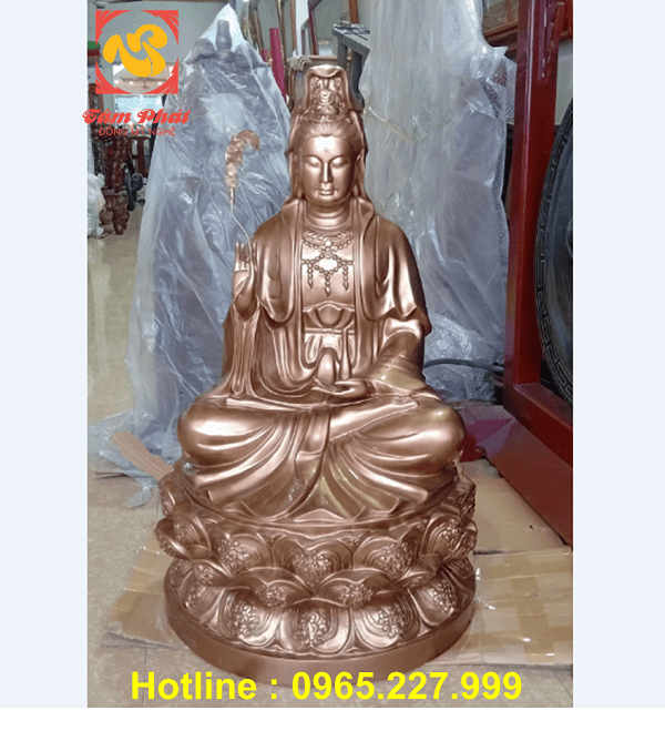 Tượng Phật Quan Thế Âm Bồ Tát bằng đồng đỏ cao 90cm