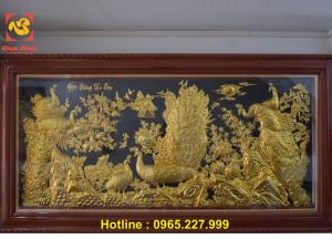Tranh đồng Ngọc Đường Phú Quý kích thước 2m3x1m2 dát vàng 9999